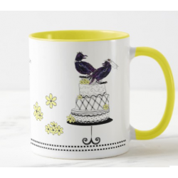 Wedding Love Crows Ceramic Mug