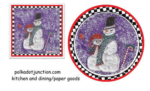 snowmen featured on mug and plate for Christmas
